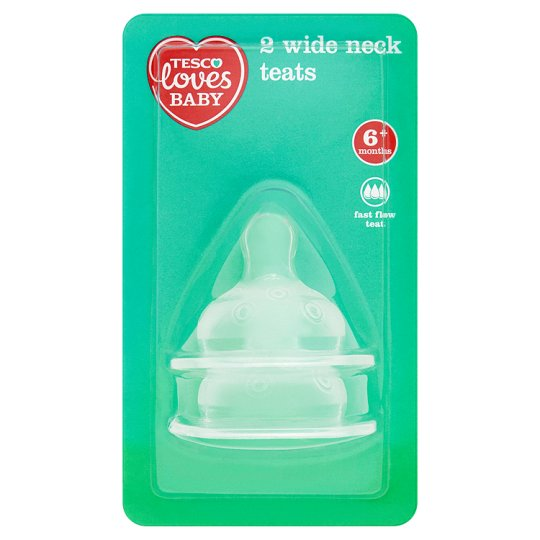 Tesco Loves Baby Wide Neck Teats Fast Flow X2