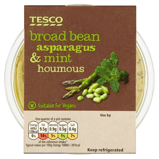 Tesco Broad Bean Asparagus And Mint Houmous 182G