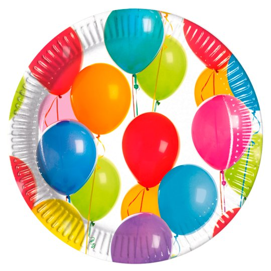 Tesco Party Balloons Plates 8Pk