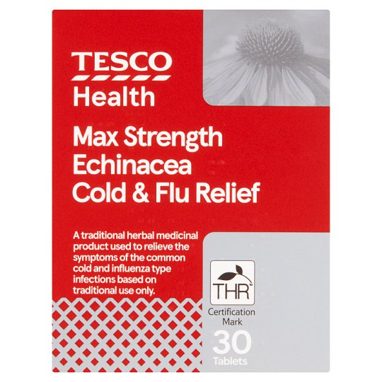 Tesco Max Echinacea Cold And Flu Relief Tablets 30