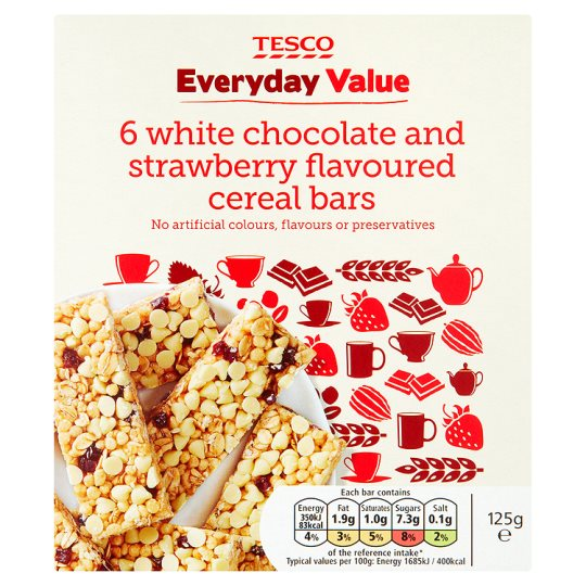Tesco Everyday Value 6Pk White Chocolate And Strawberry Cereal Bars