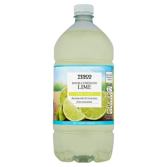 Tesco Double Strength Lime Squash No Added Sugar 1.5L