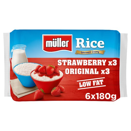 Muller Rice Strawberry And Original Dessert 6 X180g