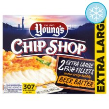 Youngs 2 Extra Large Beer Battered Fish Fillets 320G