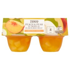 Tesco Tropical Flavour Jelly Peach&Pear Pieces 4X120g