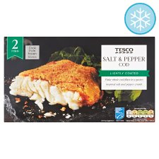 Tesco 2 Lightly Dusted Salt Pepper Cod Fillets 285G