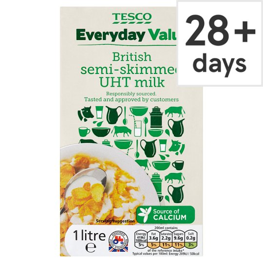 Tesco Everyday Value British Semi Skimmed Longlife Milk 1L