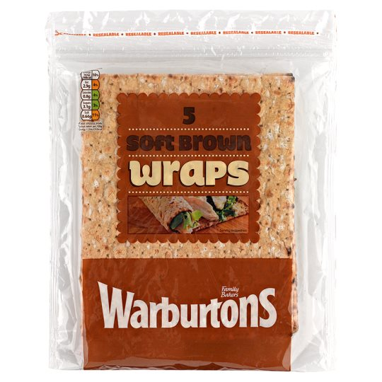 Warburtons 5 Brown Square Wraps