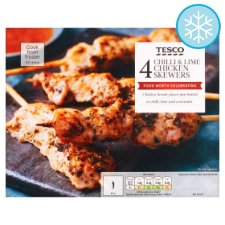 Tesco 4 Chilli And Lime Chicken Skewers 200G