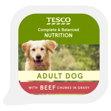 Tesco Cuts In Gravy With Beef Dog Food Tray 300G