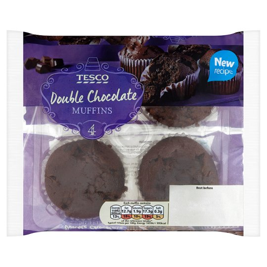 Tesco 4 Double Chocolate Muffins