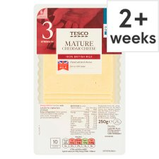 Tesco British Mature Cheddar Cheese 10 Slices, 250 G