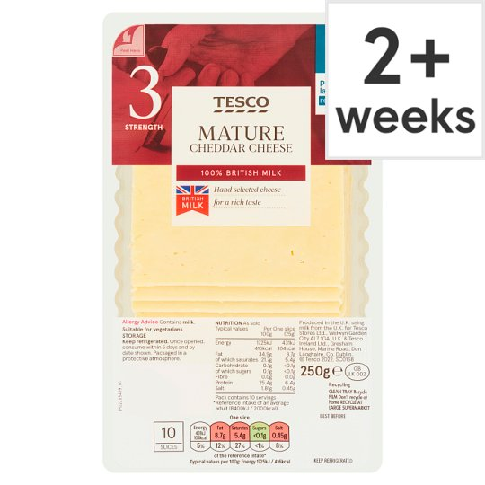 Tesco British Mature 10 Cheddar Slices 250G