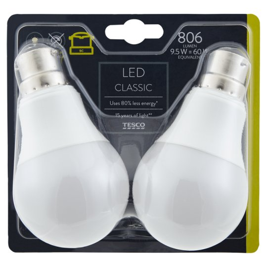 image 1 of Tesco Led Classic 60W Bayonet Cap 2 Pack