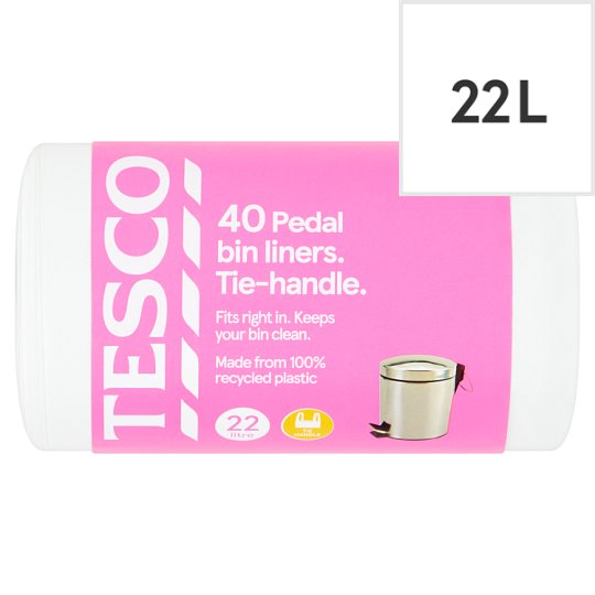 Tesco Tie-Handle Pedal Bin Liners 40 Pack (22L)