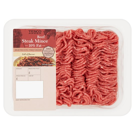 Tesco Beef Steak Mince 500G 10% Fat