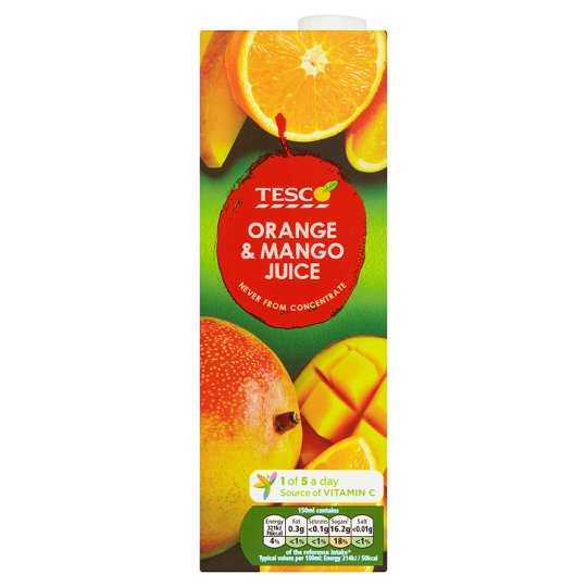 Tesco Orange And Mango Juice Not From Concentrate 1 Litre
