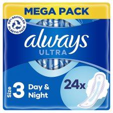Always Ultra Night Time Size 3 Sanitary Towels With Wings 24 Pack