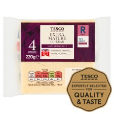 Tesco British Extra Mature Cheddar Cheese 220G