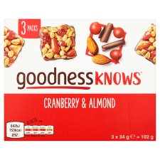 image 3 of Goodnessknows Cranberry And Almond 3X34g Bar