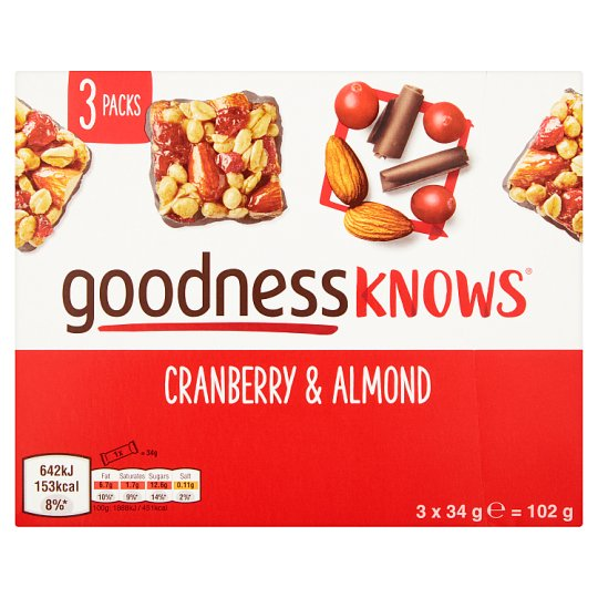 image 1 of Goodnessknows Cranberry And Almond 3X34g Bar