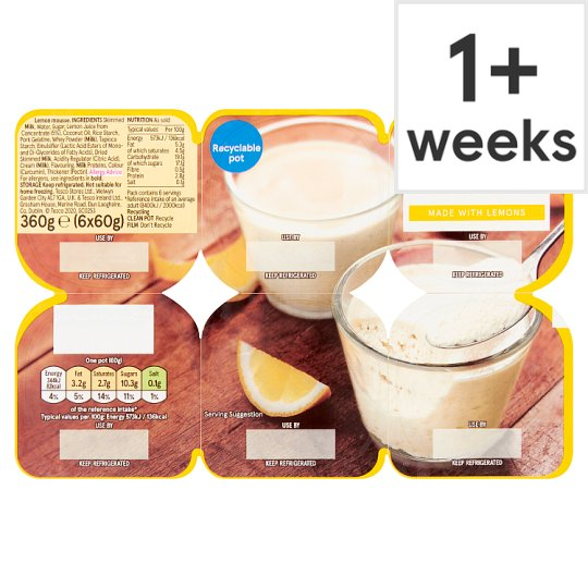 Tesco Lemon Mousse 6X60g