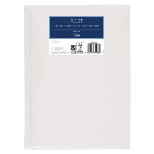 Tesco Bubble Lined Envelopes Medium X3