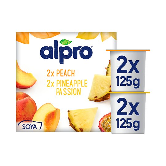 Alpro Peach And Pineapple Yoghurt Alternative 4 X 125G