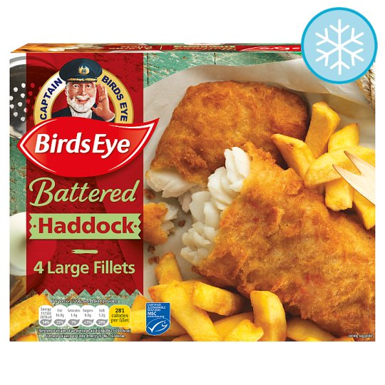 Birds Eye 4 Large Haddock Fillets Harry Ramsden Batter 480G
