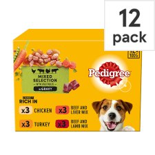 image 1 of Pedigree Dog Food Pouches Meals in Gravy 12x100g