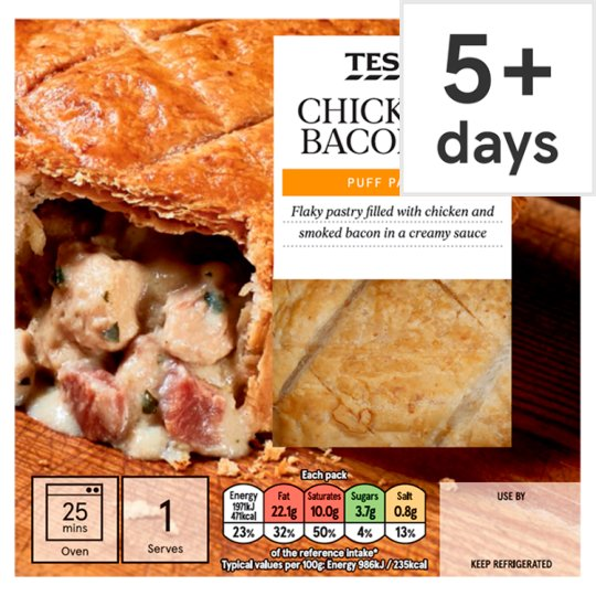 Tesco Chicken And Bacon Puff Pastry Pie 200G