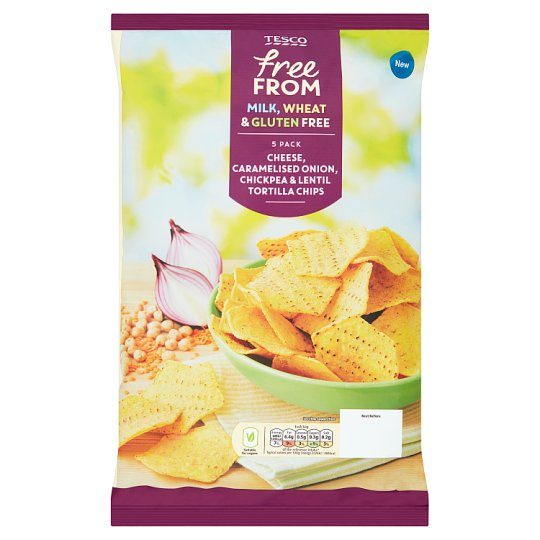 Tesco Free From Cheese And Onion Corn Chips 5X20g