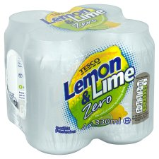 Tesco Lemon And Lime Zero 4X330ml