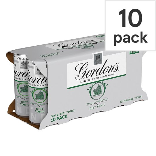 image 1 of Gordon's Gin And Slimline Tonic 250Ml 10 Pack