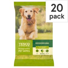 Tesco Deodourising Antibacterial Pet 20 Wipes