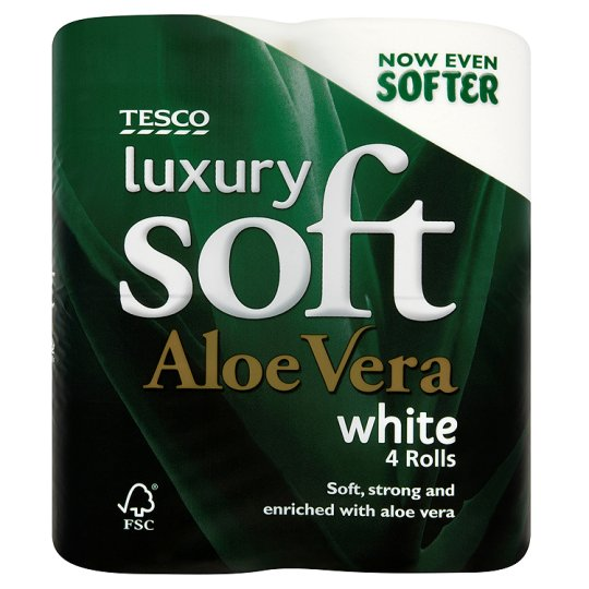 Tesco Luxury Soft Toilet Tissue 4 Roll Aloe Vera