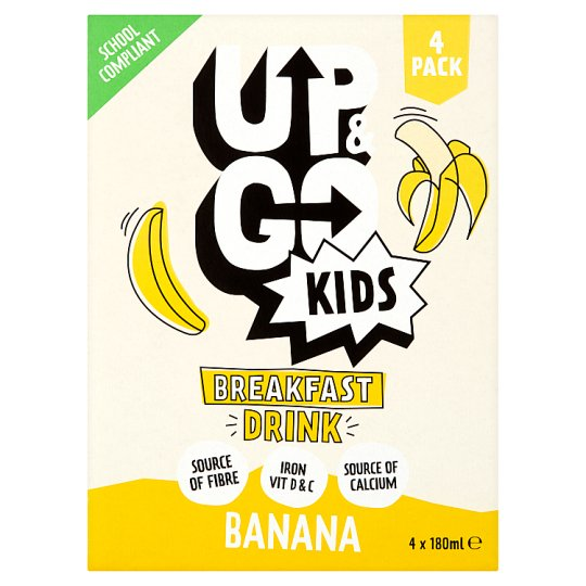 Up And Go Kids Banana Drink 4 X 180Ml