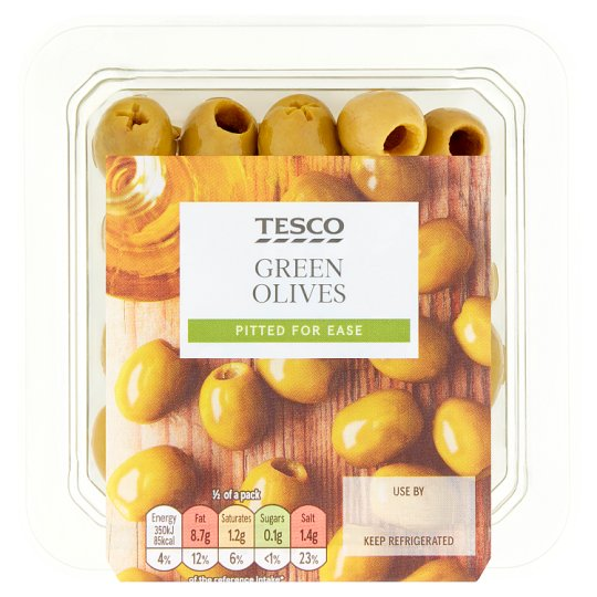 Tesco Pitted Green Olives 95G