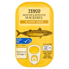 Tesco Skinless Boneless Scottish Mackerel Curry Sauce 125G