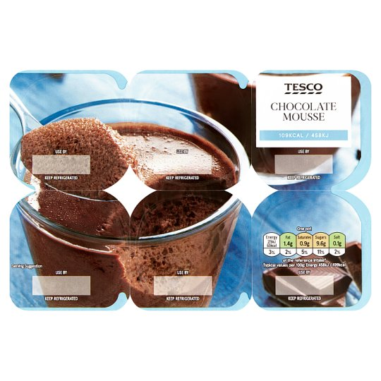 Tesco Healthy Living Chocolate Mousse 6 X60g