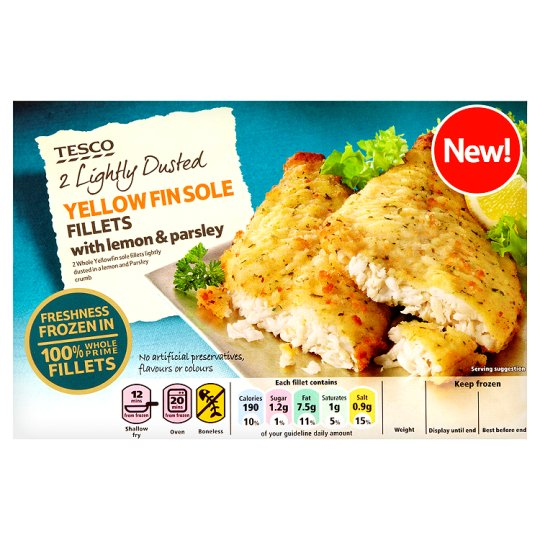 Tesco 2 Lightly Dusted Yellow Fin Sole Fillets 250G