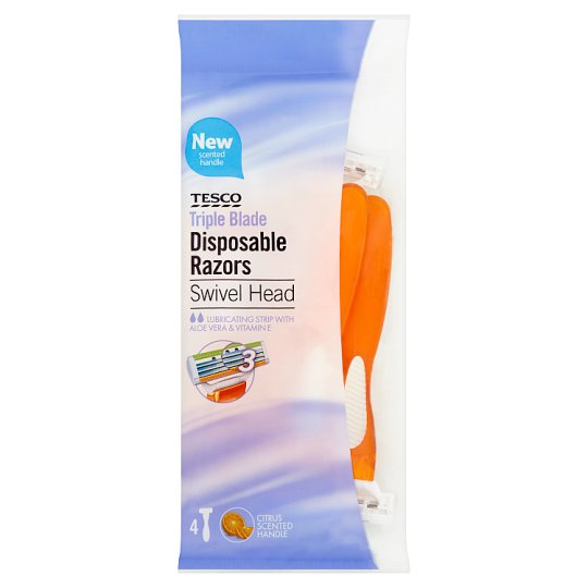 Tesco Swivel Head Triple Blade Disposable Razors 4 Pack