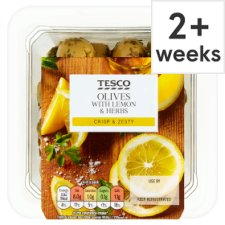 Tesco Lemon Herb Green Olives 140G