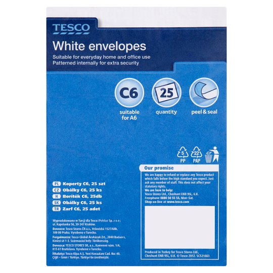 Tesco White C6 Envelopes 25Pk