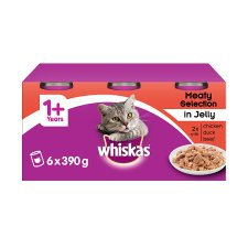 Whiskas 1+ Cat Food Tins Mixed Variety in Jelly 6x390g