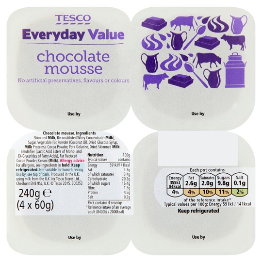 Tesco Everyday Value Chocolate Mousse Dessert 4 X60g