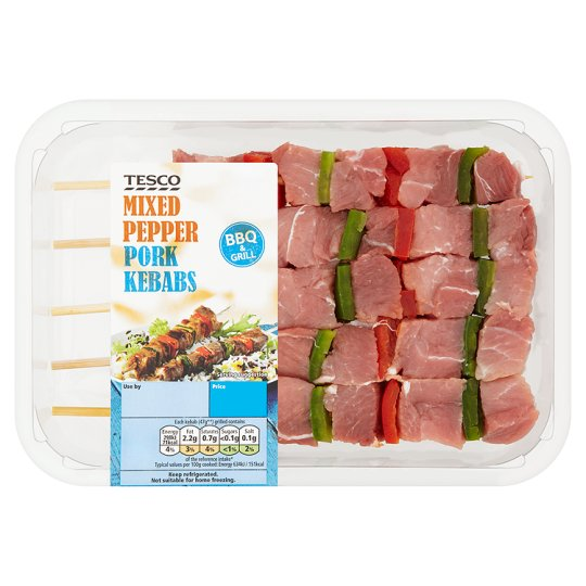 Tesco 5 Pork And Pepper Kebabs 360G