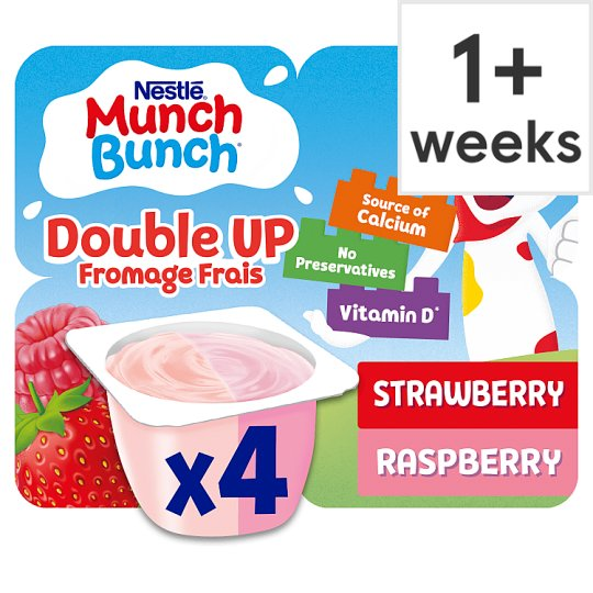 Munch Bunch Double Strawberry Raspberry Yogurt 4 X85g