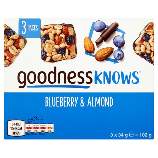 image 1 of Goodnessknows Blueberry And Almnd 3X34g Bars