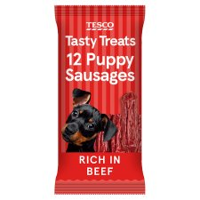 Tesco Sausages Beef Puppy Treats 12 Sausages 30G
